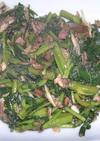 空心菜とベーコンと舞茸の炒め物