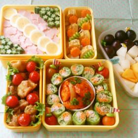 運動会弁当やおもてなしに♪彩り野菜ロール