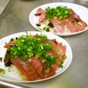 マグロ中トロの漬け丼(茗荷風味)