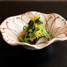 菊とみぶ菜のおひたし