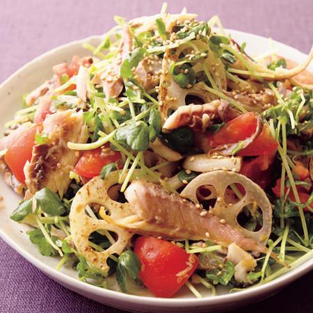 豆苗とれんこんの干ものサラダ