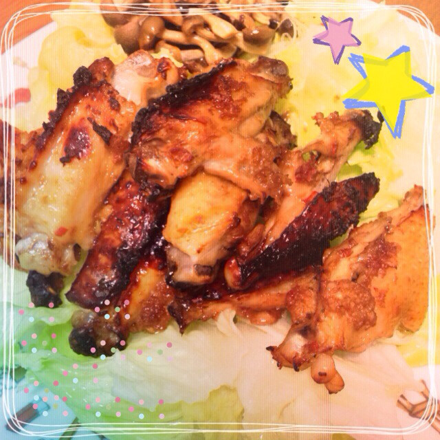 簡単☆鶏肉 手羽中のピリ辛香味焼グリル