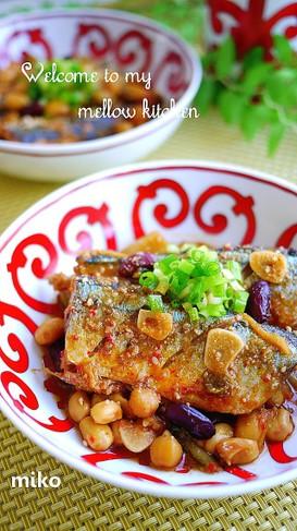 サンマと大豆の韓国風うま煮