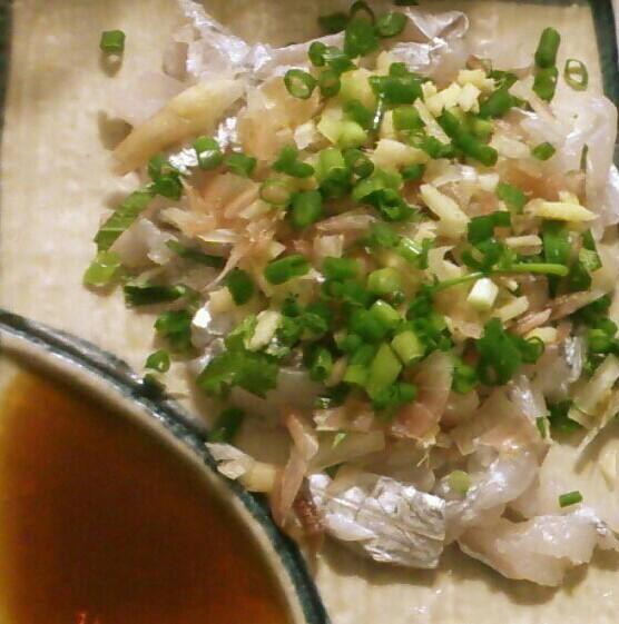 太刀魚のお刺身~薬味たっぷりバージョン