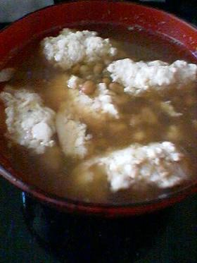 鶏団子と納豆の汁