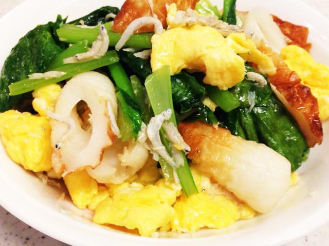 栄養満点♡小松菜としらすとちくわ玉子炒め