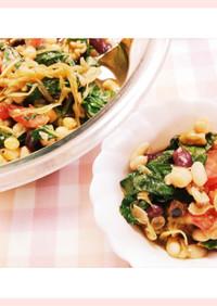 白インゲン豆達と玉葱ドレッシングのサラダ