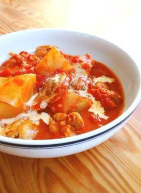 チキンと大根のトマトクリーム煮