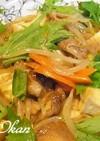 厚揚げとモヤシ、豚肉の炒め物