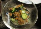 納豆とわかめと胡瓜の酢醤油和え