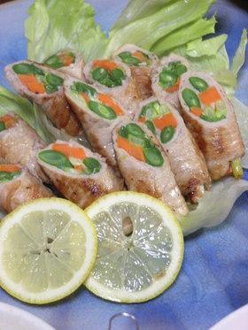 彩り野菜を豚肉で巻き巻き