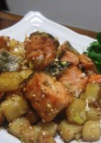 ゴロゴロ鮭とおじゃがのごま葱炒め