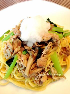 ランチ*豚肉と小松菜、舞茸の和風パスタ