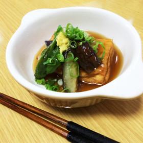 茄子とししとうの素揚と揚げ豆腐の餡かけ