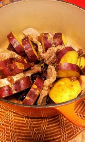 サツマイモと豚のポットロースト