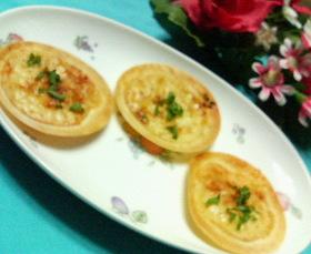 ホワイトソースで☆ミニミニ明太チーズピザ