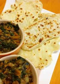 モロヘイヤと茄子の野菜カレーwithナン