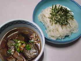 ナスと豚肉の麺つゆ