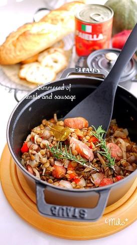 レンズ豆とソーセージの煮込み*STAUB