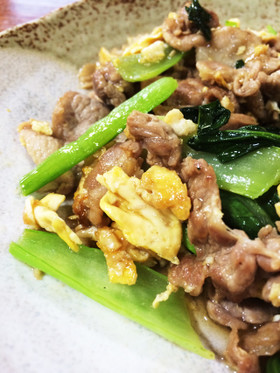 タレが絡む☆豚肉と卵、小松菜の炒めもの