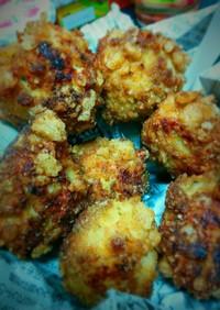 お菓子で鶏ムネ挽肉の竜田揚げ風