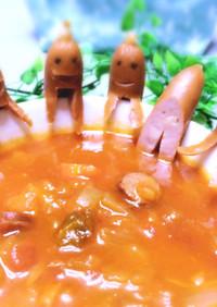 スープをのぞき込むソーセー人♡子供の日に