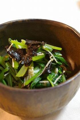 食物繊維もたっぷり 小松菜の磯辺和え