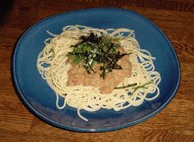 納豆&明太子のスパゲッティ