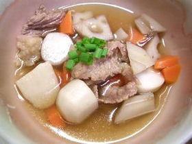 スジ肉のゆで汁利用 牛肉と根菜のスープ煮