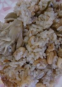 簡単栄養満点きのこツナ大豆の炊き込みご飯