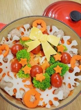 デコ鍋クリスマス☆蓮根鶏団子のトマト鍋