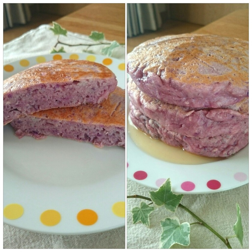 HM豆腐チーズ紫芋のホットケーキ☆薩摩芋