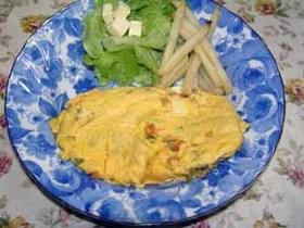野菜たっぷり挽肉入りオムレツ