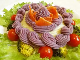 紫いもクリームのサラダケーキ