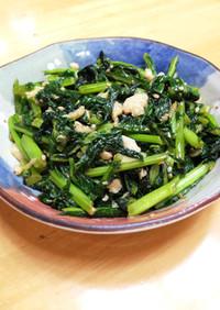 鶏皮とかぶの葉の中華炒め