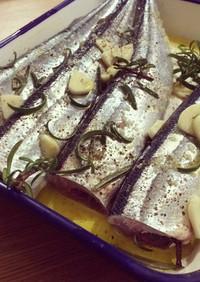 秋刀魚のハーブ塩焼き
