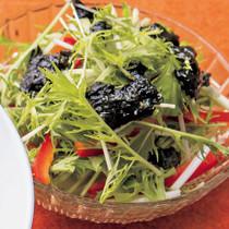 水菜とパプリカののりだれサラダ