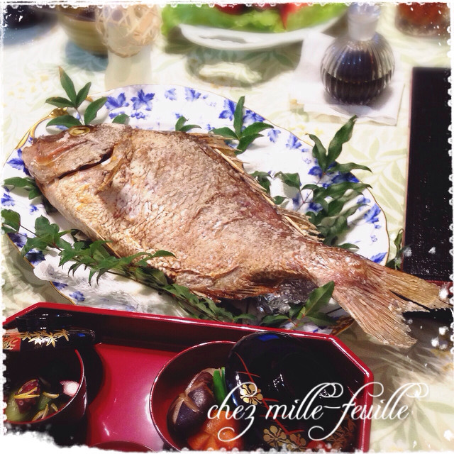 お祝いに*電気オーブンで尾頭付き鯛
