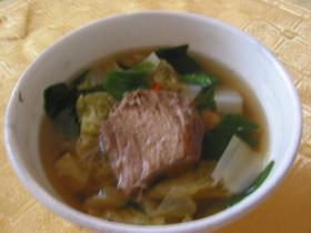 チャーシューをリメイク☆ピリ辛スープ