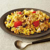 鶏肉と豆のカレー炊きこみご飯