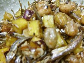 ●食べる小魚で大豆とさつまいもの揚げ煮♪