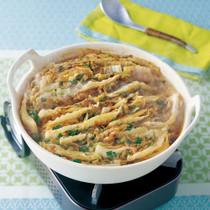 白菜とひき肉のキムチ蒸し鍋