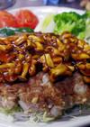 お魚・豆腐のハンバーグ・キノコソース