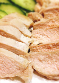 鶏胸肉で柔らか蒸し鶏