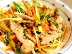 簡単★豚肉と水菜と人参の甘辛炒め