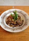 桜海老とキノコの中華風炒め、アスパラ添え
