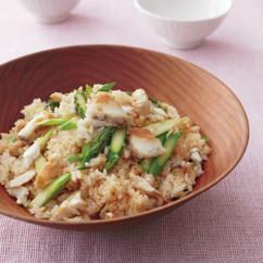 鯛とアスパラのみそ風味炊き込みご飯