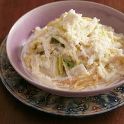 白菜と帆立てのクリームスープパスタ