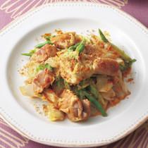 キャベツと鶏肉のカレーマヨ炒め