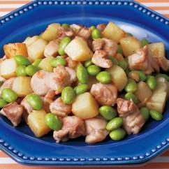鶏肉と枝豆の塩炒め